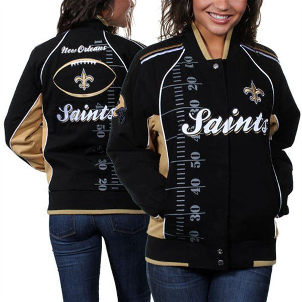 hot sales 4fc57 db437 New Orleans Saints Ladies Franchise Twill Jacket - Black/Old ...