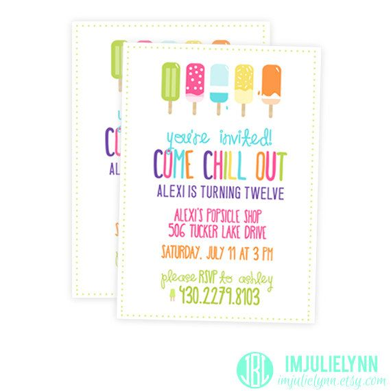 Girls Birthday Party Invitation - Popsicle Invitation - Summer Party - birthday party invitation informal letter