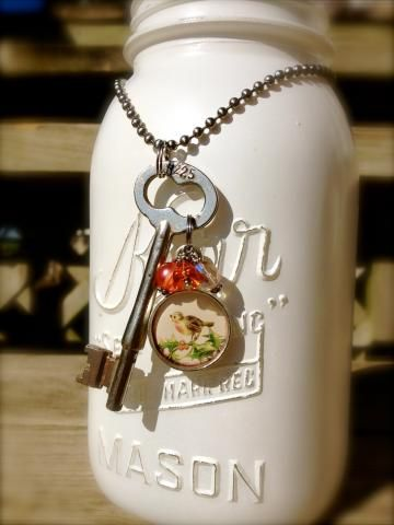 Vintage Corbin Skeleton Key with Bird Charm and Bead Cluster by Fabrik8d for $25.00