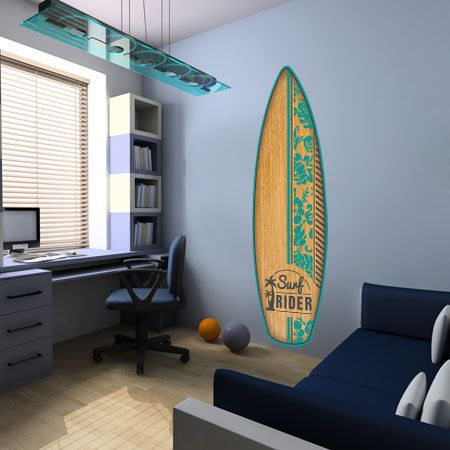 stickers planche surf aloha veut dire bonjour hawaii. Black Bedroom Furniture Sets. Home Design Ideas