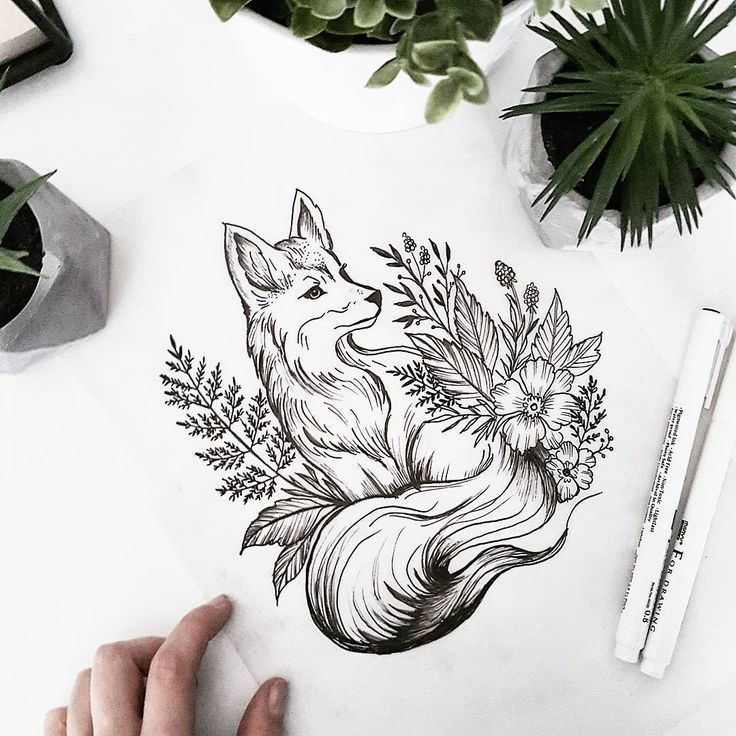 Image showing fox and wildflower tattoo – tattoo pattern