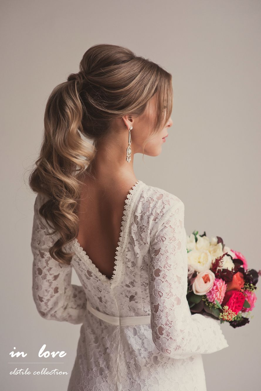 Effortlessly romantic curly ponytail bridal hairstyles