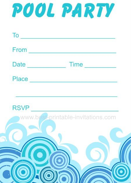 Adult Pool Party Invitations - Free Printable Party Invites From