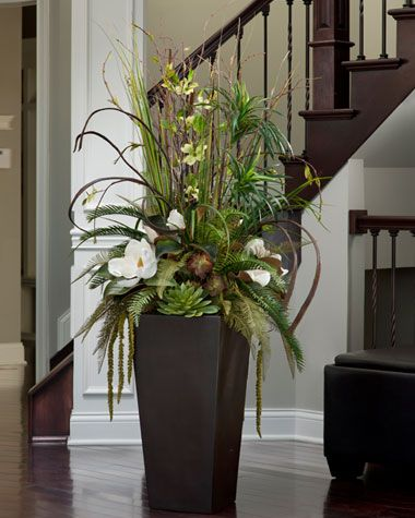 Greens In A Tall Vase Tall Floral Arrangements Tall Vase Arrangements Greenery Arrangements