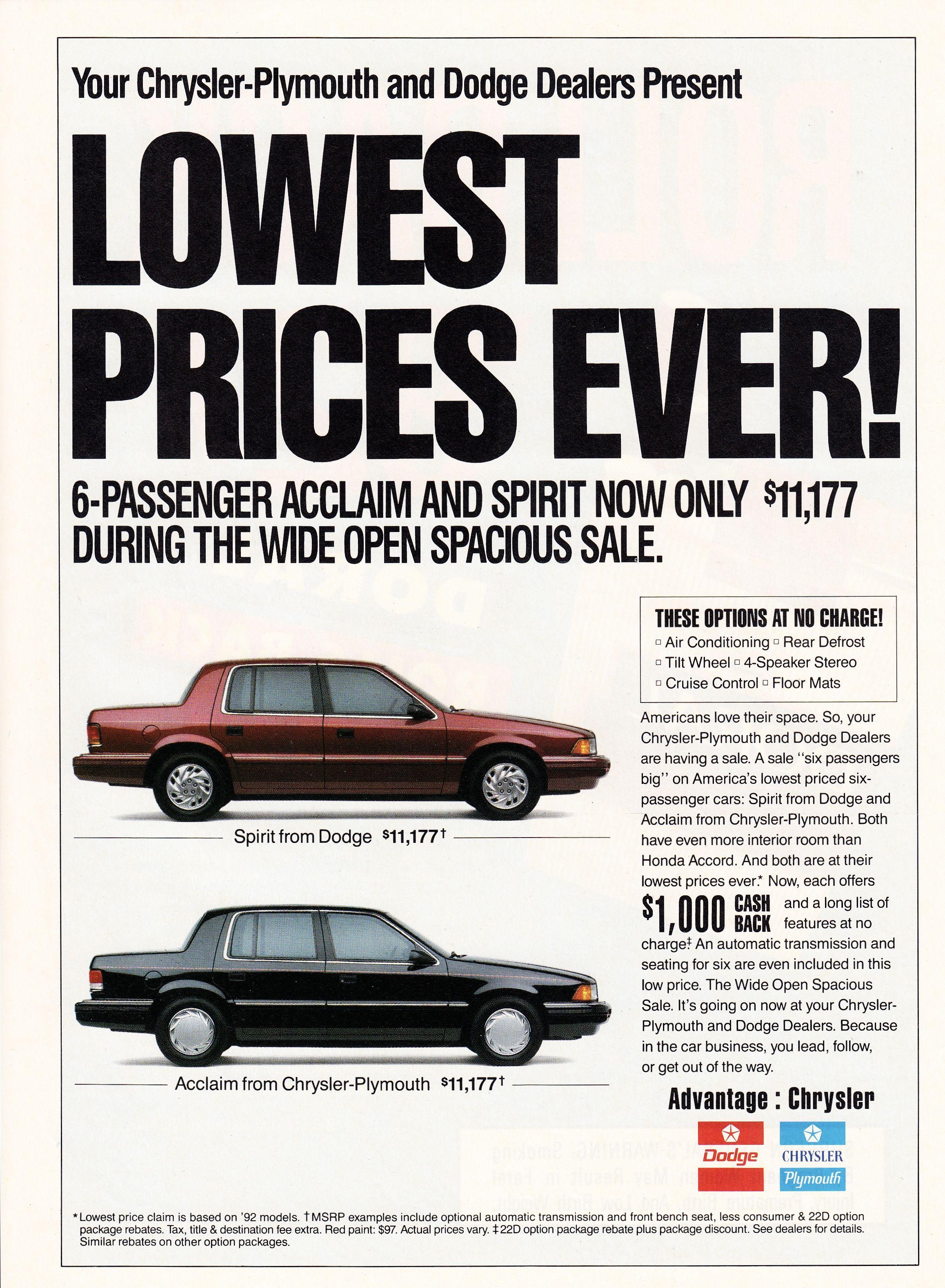 1992 Dodge Spirit Plymouth Acclaim Dodge Spirit Automotive Marketing Car Ads