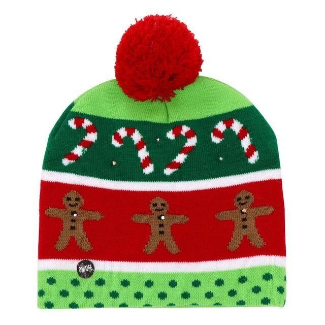 LED Christmas Hat Beanie Santa Light Up Knitted Party Xmas Cap Funny Warm Socks