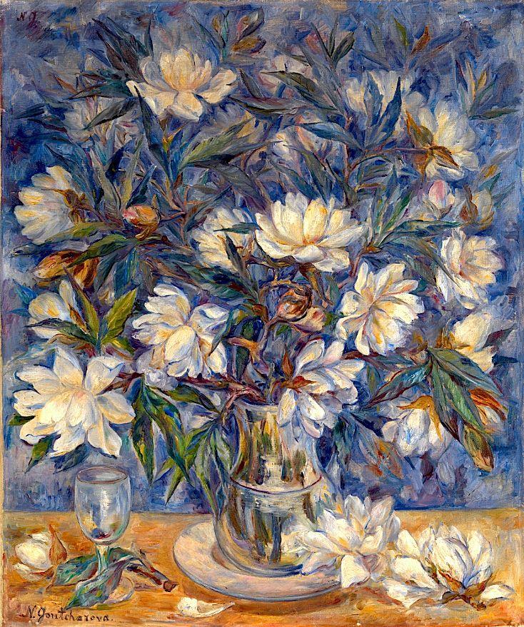 Картинки по запросу Natalia Goncharova, Still-Life with Magnolias and a Glass