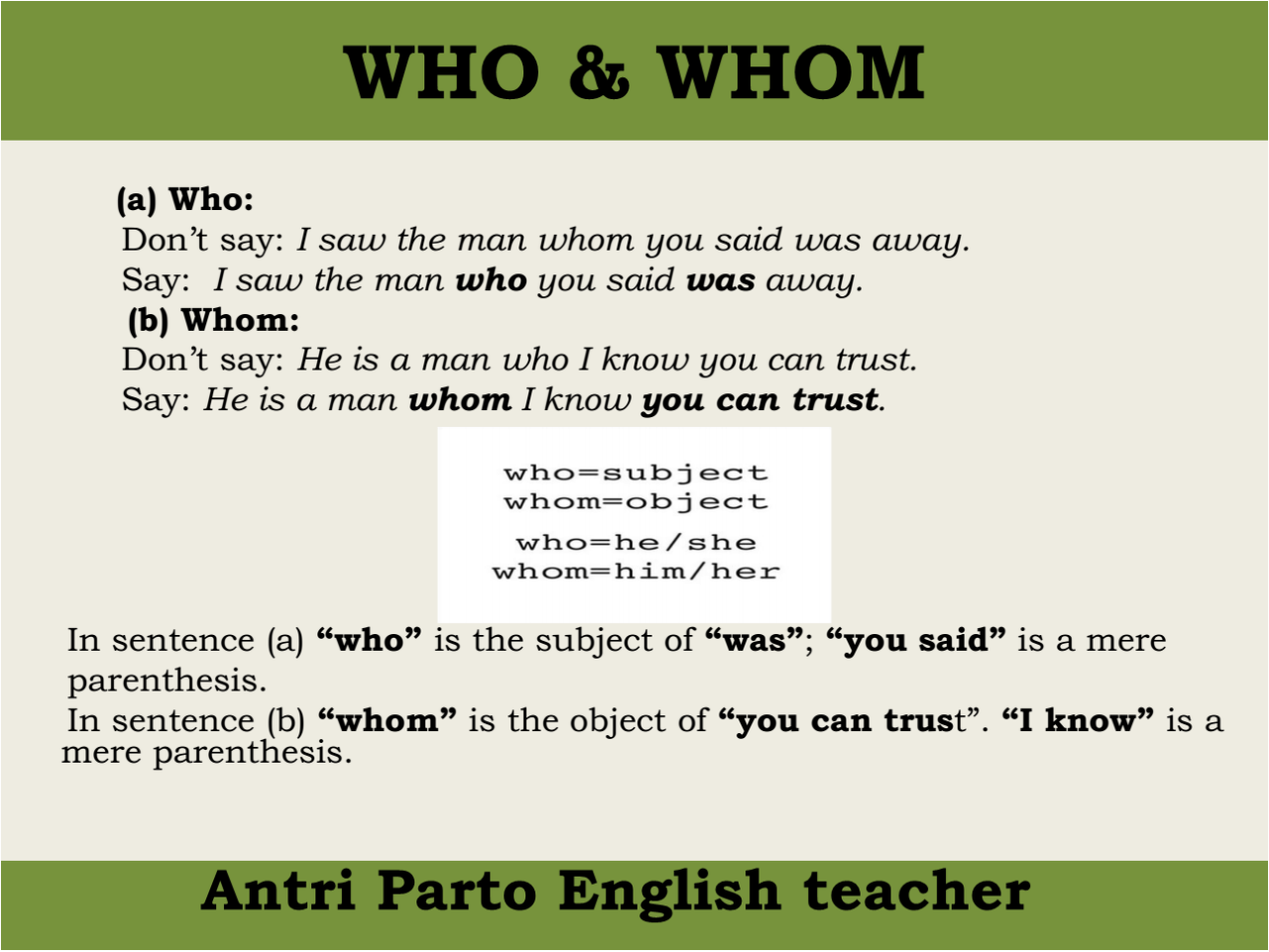 """hellolearnenglishwithantriparto: """" WHO & WHOM in English """" 