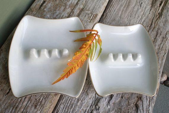 Mid Century White Porcelain Ashtrays Pair by BeachLaneVintage, $8.00