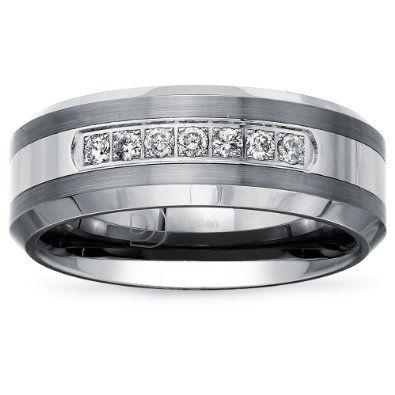50% off Tungsten Carbide Diamond Mens Wedding Band