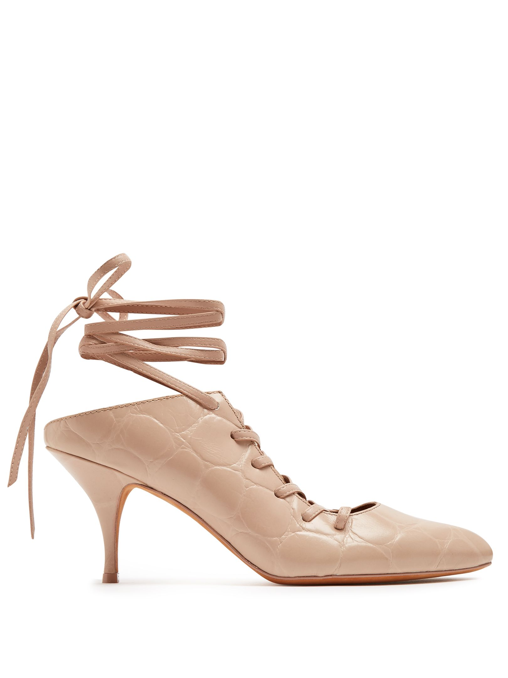 Givenchy Lace-up crocodile-effect leather pumps at MATCHESFASHION.COM