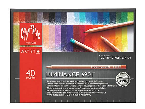 Caran D'ache Luminance Pencil Set of 40- This new range of pencils from Caran D'ache are of the highest quality and made for the professional artist.   They are made with the finest concentration of pigment to produce a generous soft lead with permanent colour. Designed to be 100% lightfast and 61 of the 76 colours carry the standard ASTM D6901 and the wood is sourced from well managed and controlled sources.