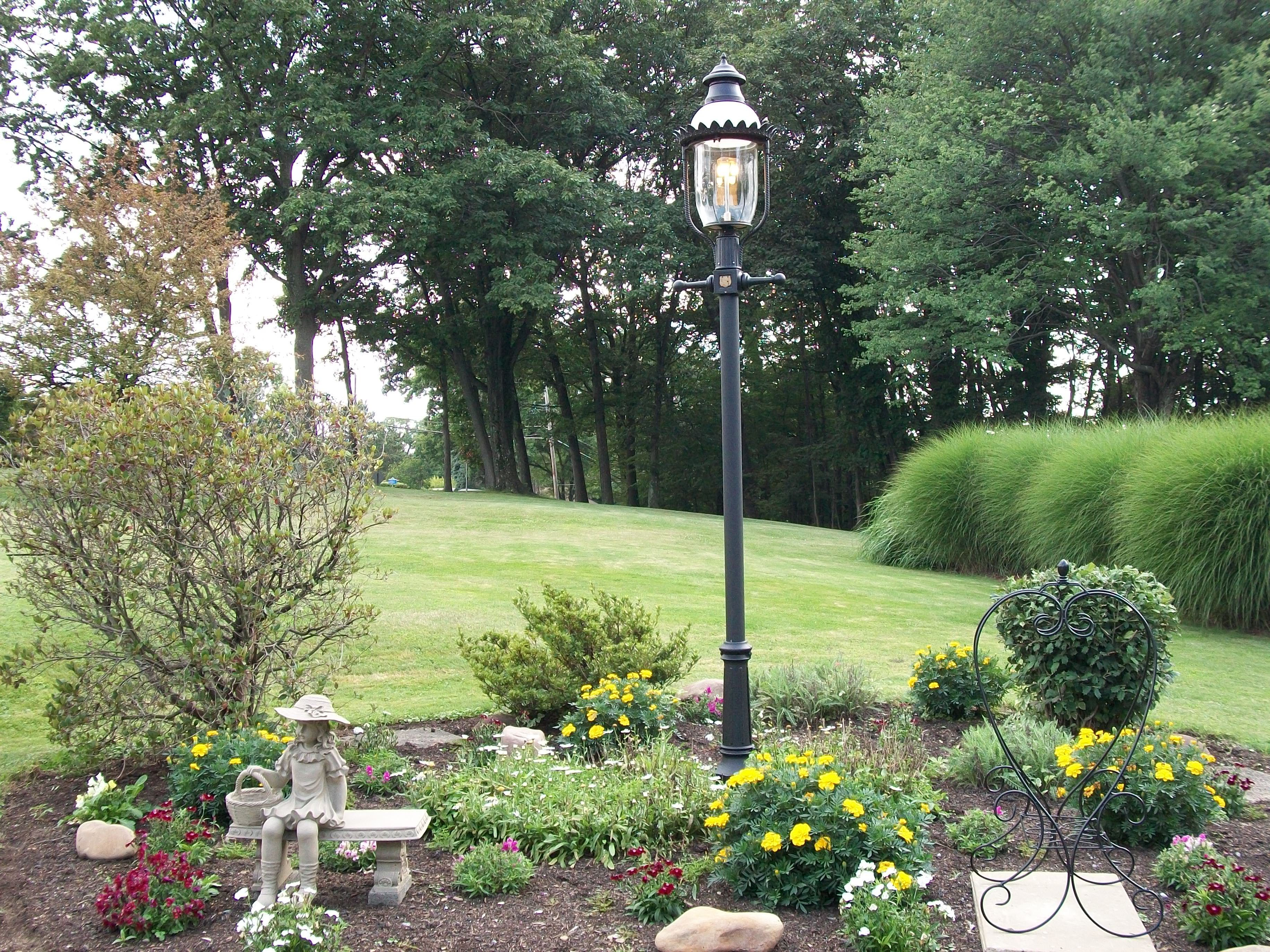 A Post Mounted Gasglow Led Victorian Lamp With A Powder Coated Ventilator Milk Glass Dome And Clear Glass Globe Ad Victorian Lamps Gas Lamp Gas And Electric
