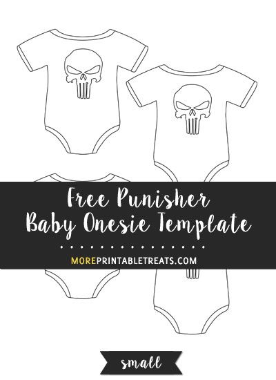 free punisher baby onesie template small size baby shower