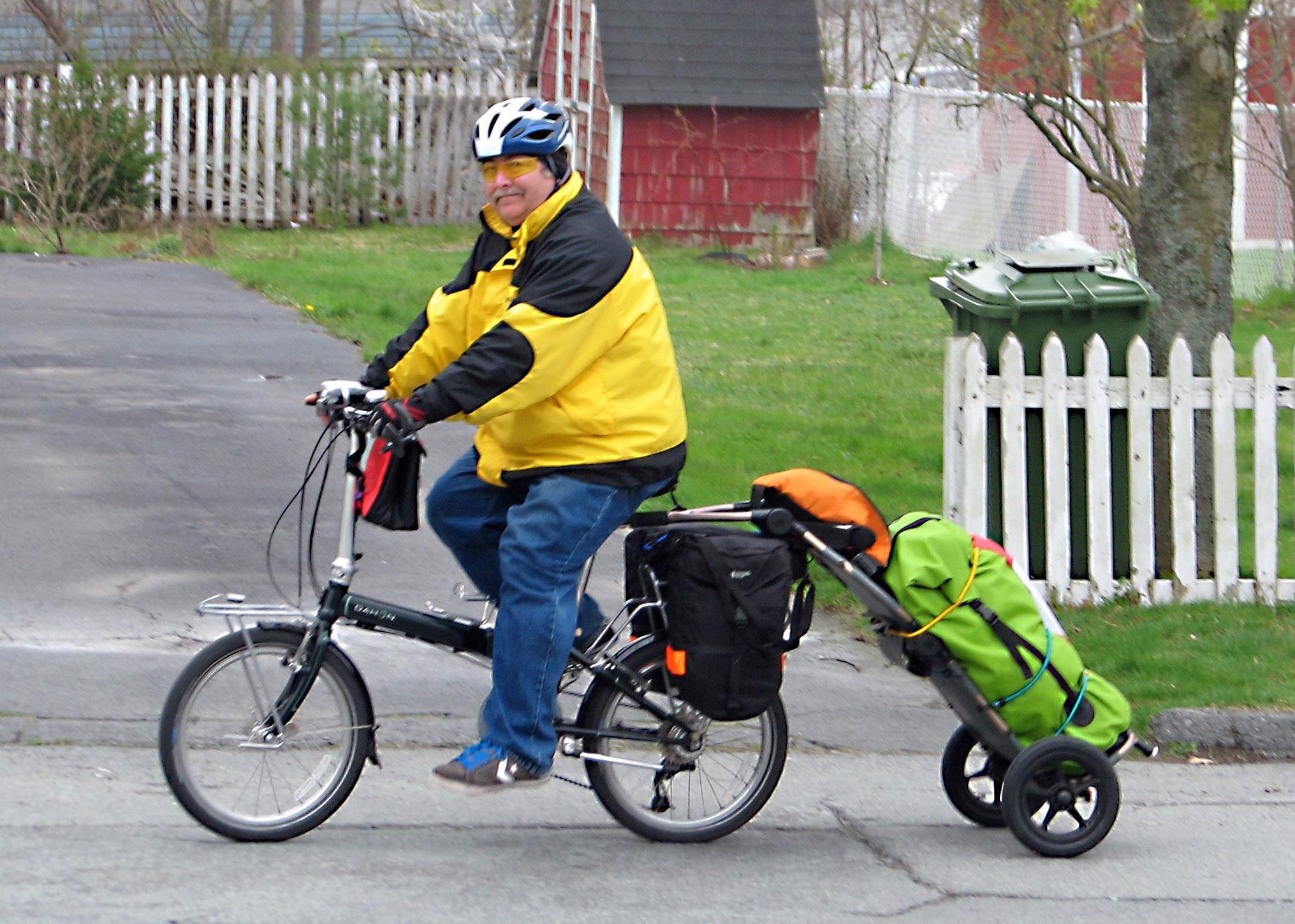 Proud Canadian Burley Bike Travoy Hauling Camping Cargo