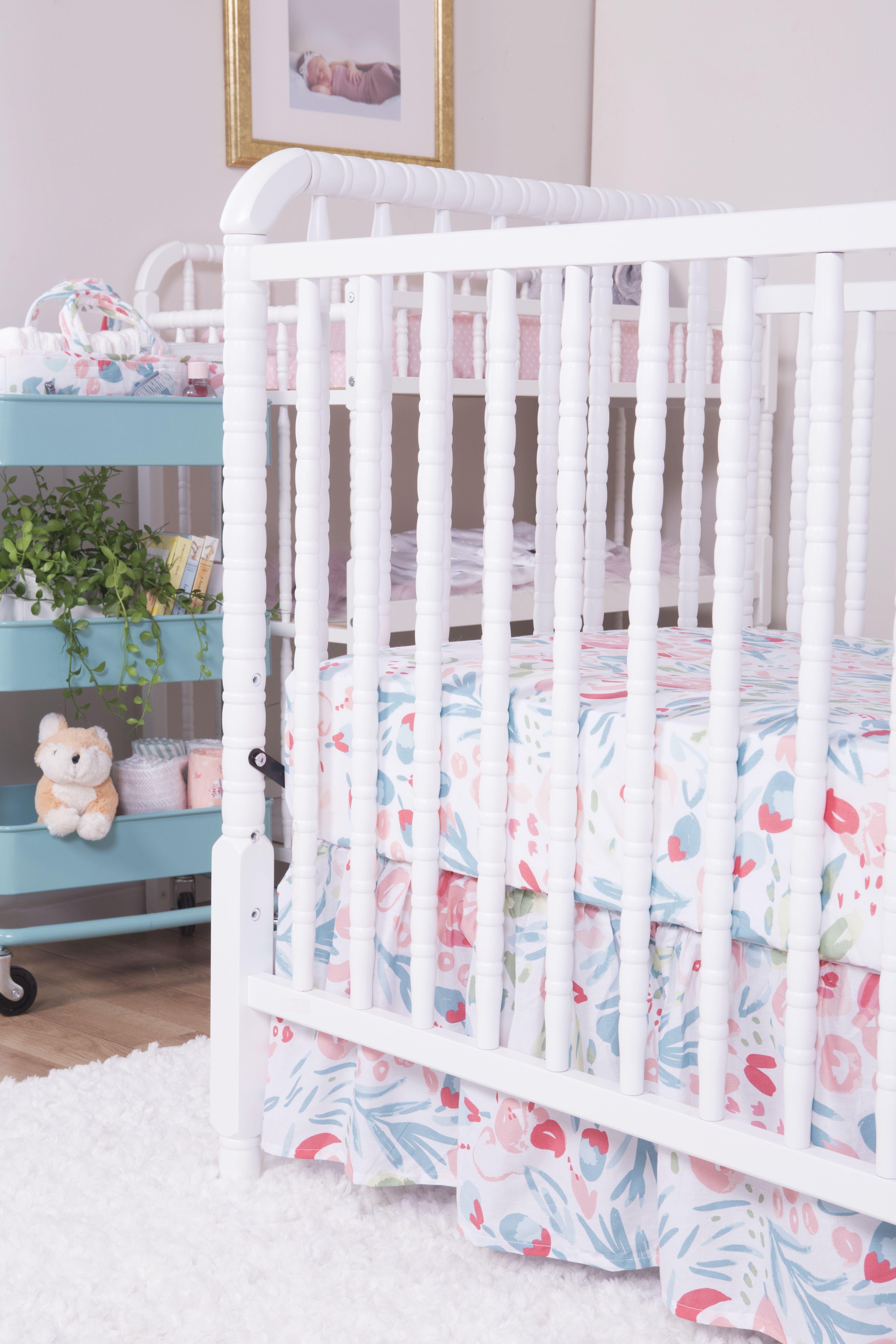 Painterly Floral 3 Piece Crib Bedding Set Mini Crib Bedding Crib Bedding Sets Rose Bedding 3 piece crib bedding set