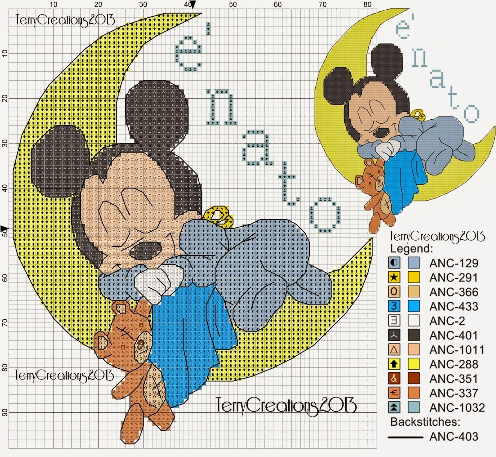 patrón de punto de cruz de Mickey Mouse y Minnie en la luna | Hobby ...