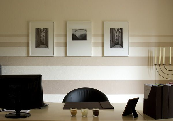 Gut Beige Stripes On The Wall Office Interior Design