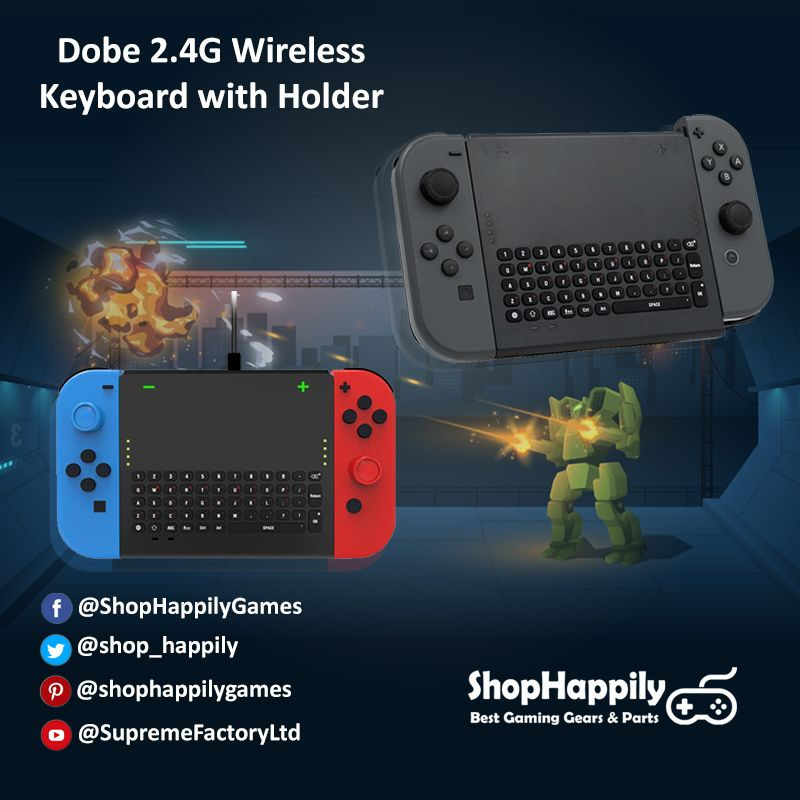 a7390b6acfb 2.4G wireless keyboard for Nintendo Switch game console, up to 10 meters  wireless connection with 200 mAh 0.74W battery capacity.