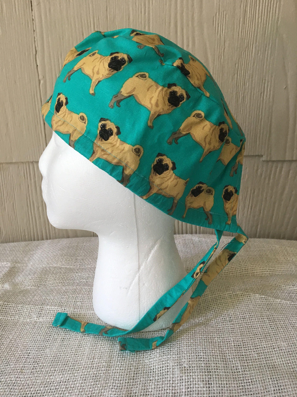 7f91ccaecca ... usa pugs on teal scrub cap surgery cap scrub caps scrub hat surgical  hat surgical cap