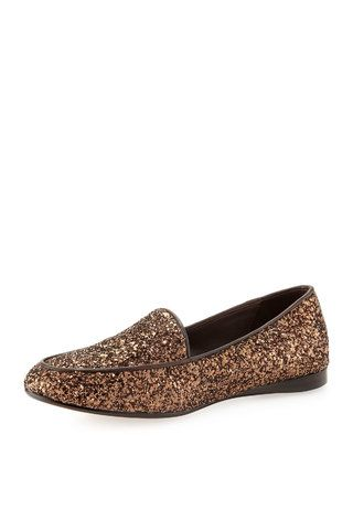 Donald J Pliner Dennys Glitter Smoking Slipper, Bronze - (6) by Donald J Pliner :: Clozette Shoppe