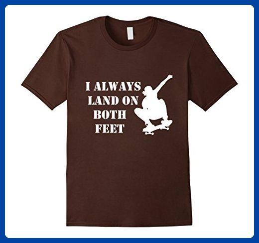 Mens I Always Land On Both Feet Skateboarding Skater Skill Shirt Large Brown - Sports shirts (*Amazon Partner-Link)