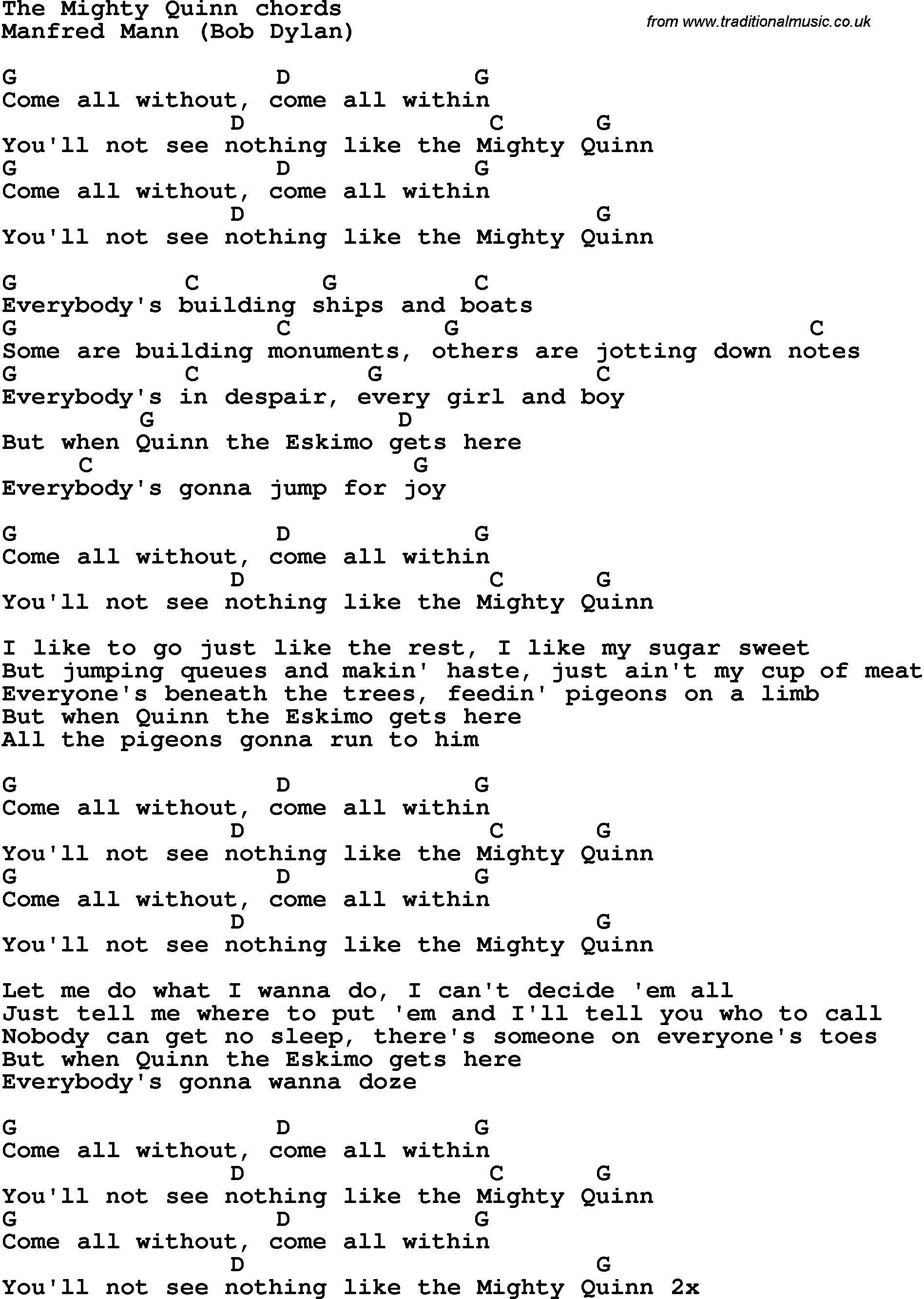 Song lyrics with guitar chords for the mighty quinn manfred mann mandolin hexwebz Images