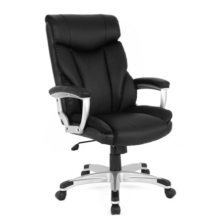 High Back Executive Leather Ergonomic Office Chair Black Black