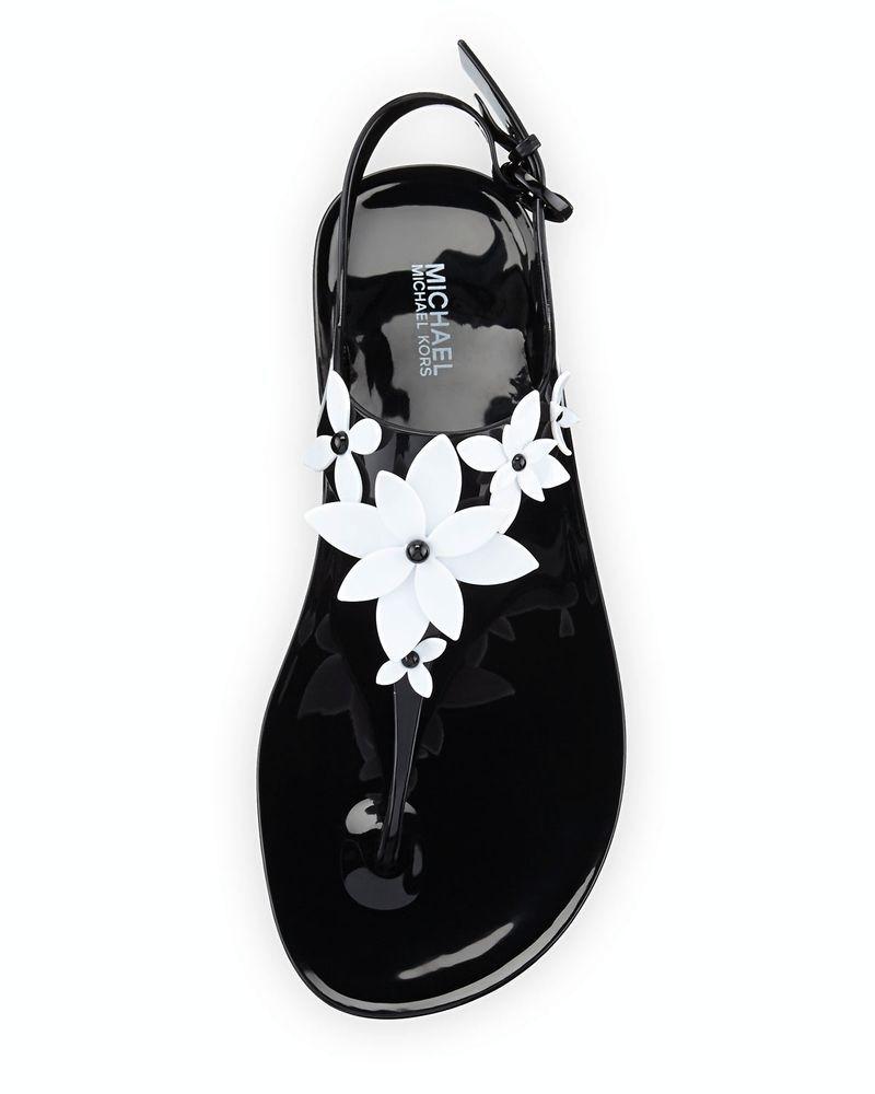 f751ef002a1d New Michael Kors Lola Jelly Thong Sandals Black Optic White Size 8M   MichaelKors  TStrap