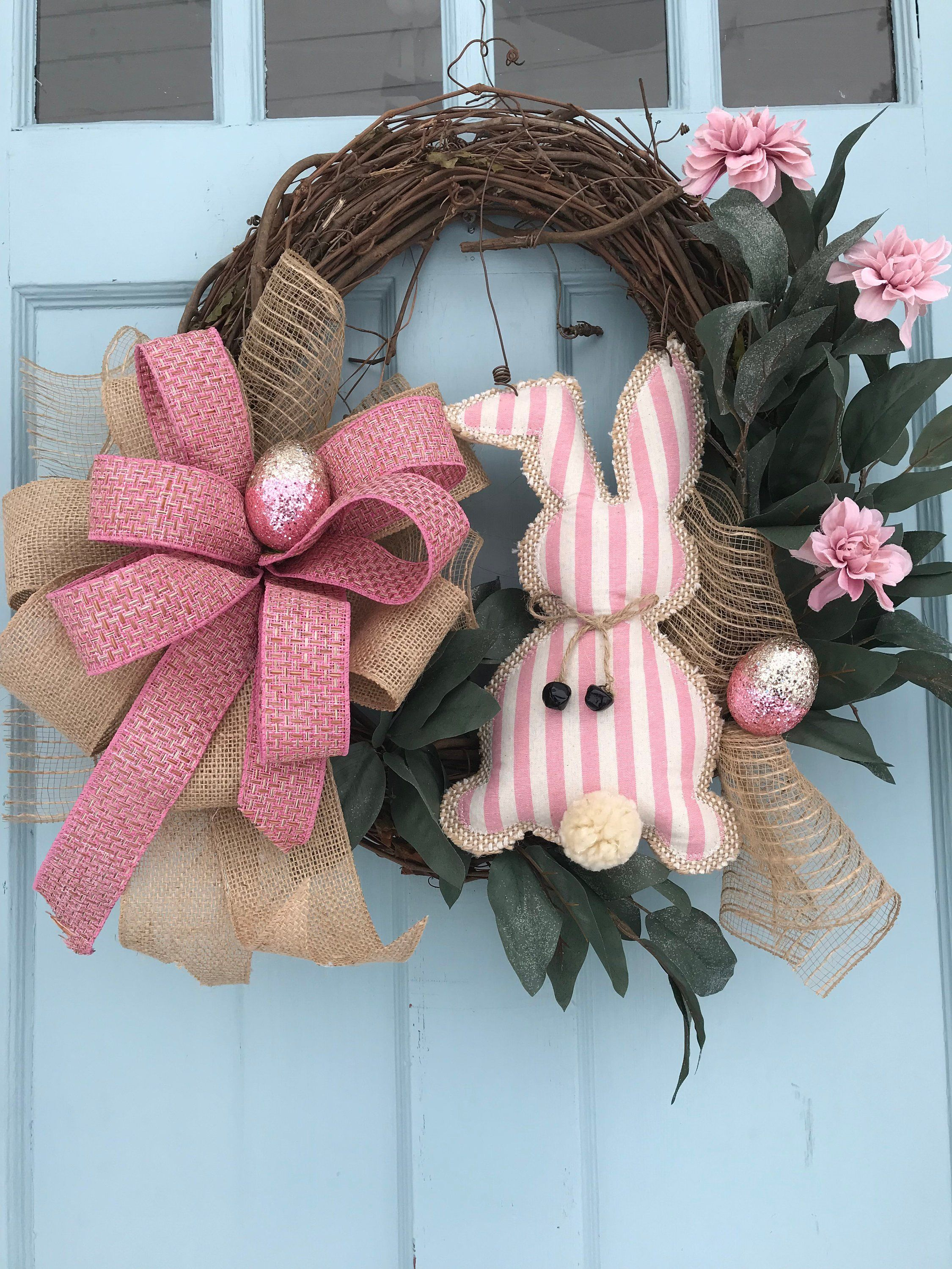 Photo of Pink and burlap bunny with Flower Accents Elegant All Season Grapevine Wreath for Door. Wreaths, wreaths for front door,  farmhouse,