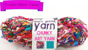 "Chunky Recycled Silk Yarn ""Penny Candy"" - I would love a scarf from this! See more @ the Darn Good Yarn link on www.greenearthdealsonline.com"