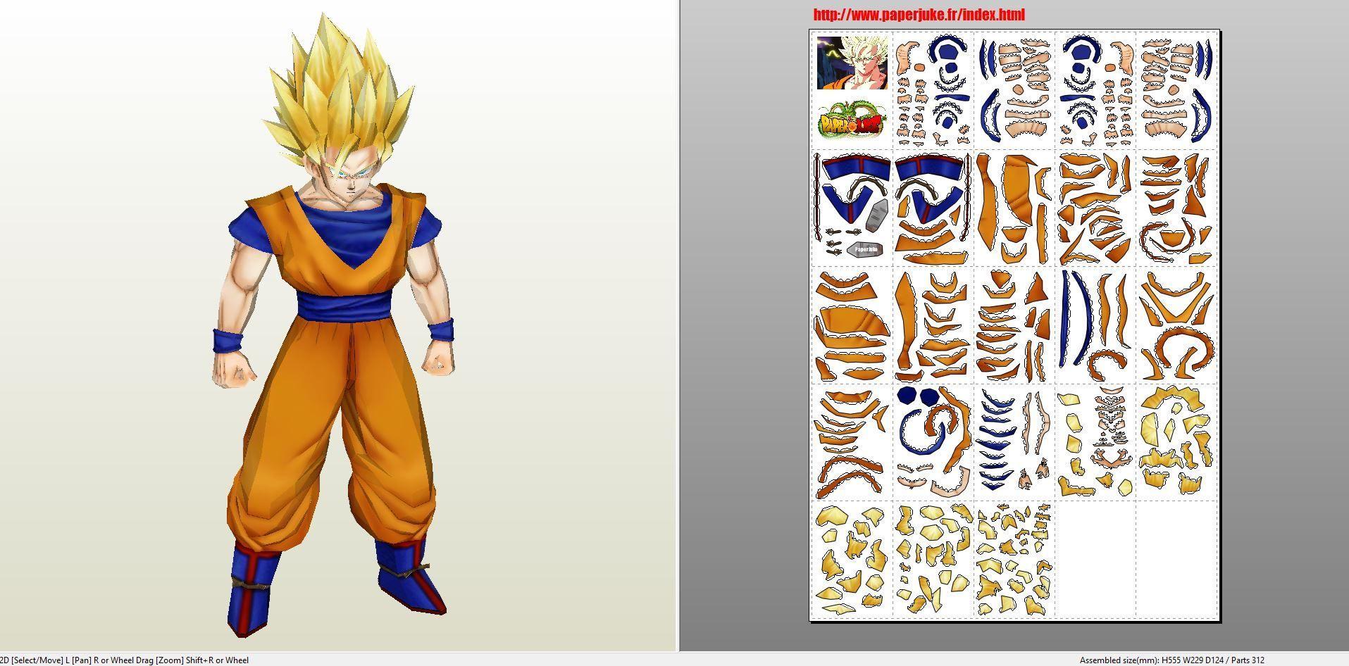 Papercraft .pdo file template for Dragonball Z - Son Goku ... - photo#40