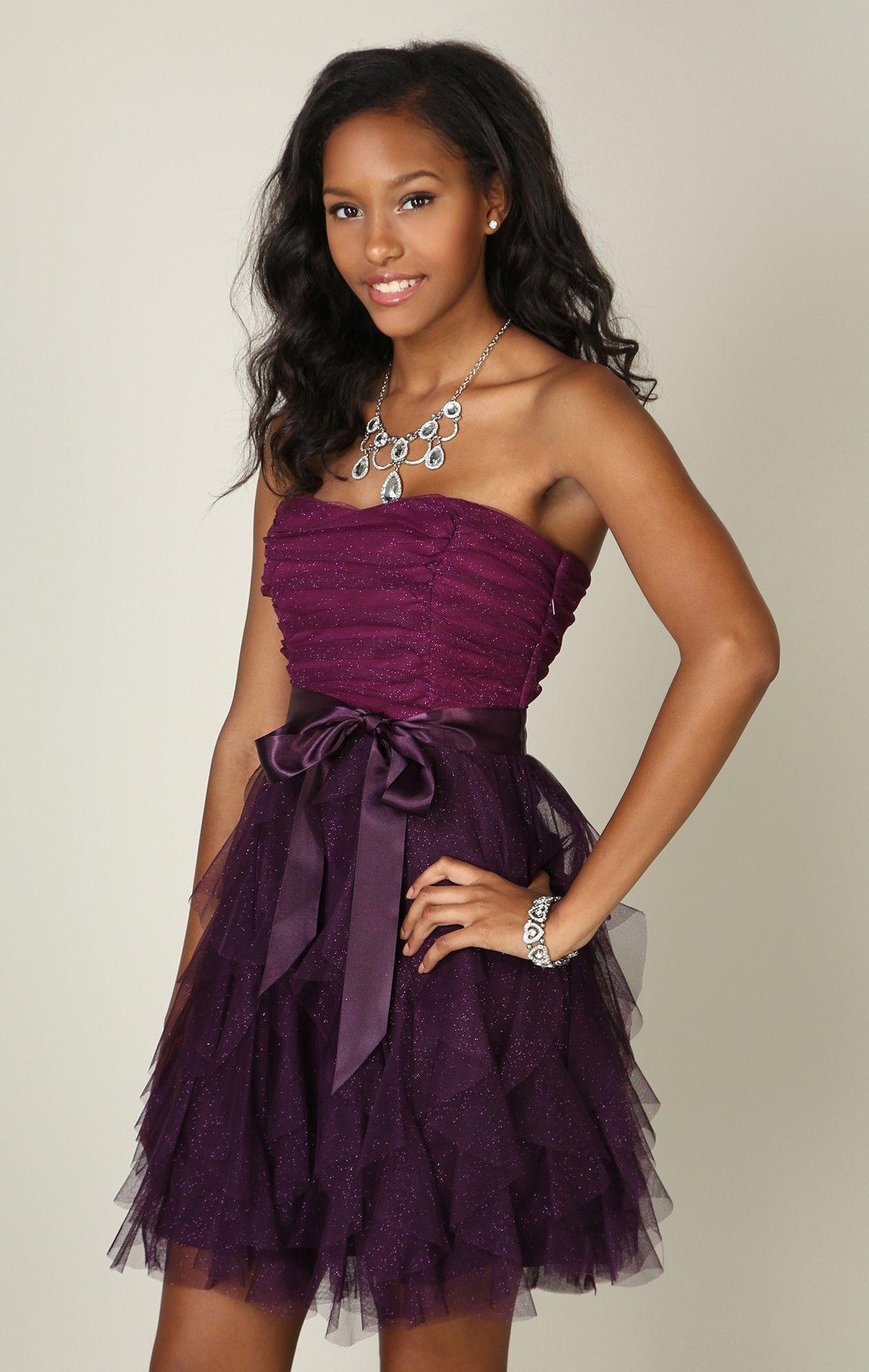 Glitter mesh strapless dress with ruched twist straight hem skirt