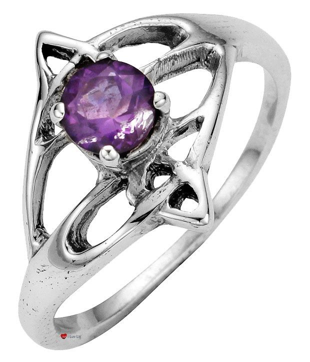 Ladies Ring Crafted In Sterling Silver Celtic Open Swirl Design With Offset Amethyst Stone  * Complete with 45cm (18 inch) chain  * Edinburgh hallmarked, Sterling Silver  * Unique design inspired by Celtic forms  * Made with finest traditional materials  * Individually hand-crafted in Scotland in a family run workshop  * Presentation boxed to make a great gift