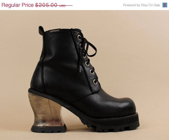 20% OFF SALE 90s Vtg Black LEATHER Ankle Boots / by nanometer
