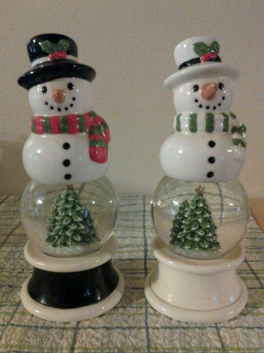 Snowmen Salt And Pepper Shakers Christmas Snow Globes Snowman Snow Globe Winter Snow Globe