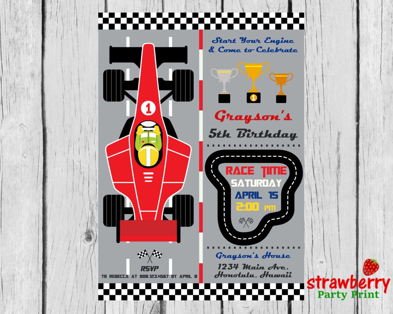 Race Car Birthday Invitation, Racing Formula 1 Boy Birthday, F1 ...