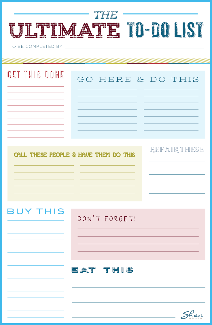 Printable to-do list. Create chore lists each week for your family members, or use as a helpful reminder of the chores and errands you need to complete. #scentsylaborday