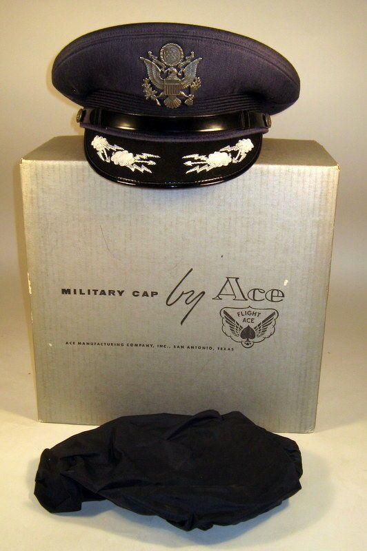 550a89315d2 USAF US Air Force Male Field Officer Dress Blues Hat Cap Bullion w  Box    Cover