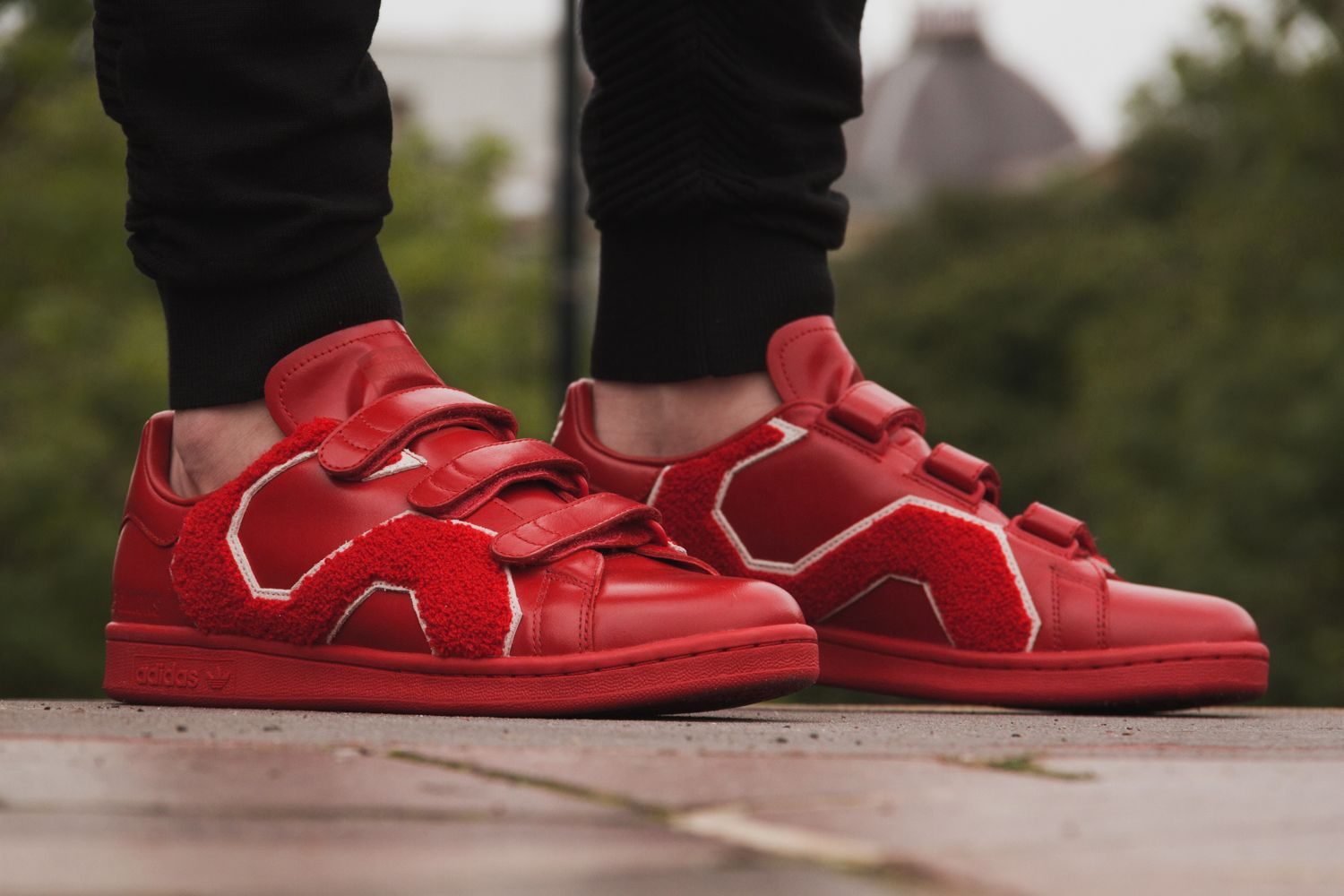 ea74692f993f adidas x Raf Simons Stan Smith Comfort Badge Sneakers in Red