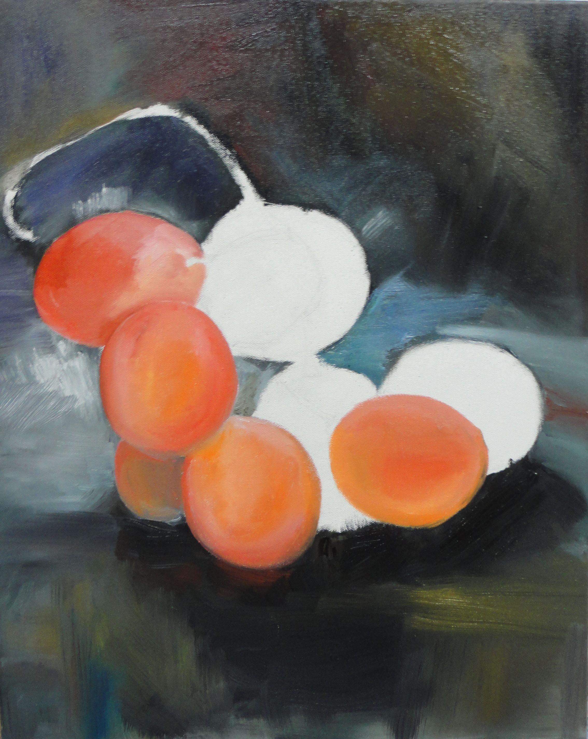 """""""Uvas"""" - Pintura a óleo sobre tela inspirado em trabalho retirado do Pinterest (1ª etapa) (4/5/16)"""