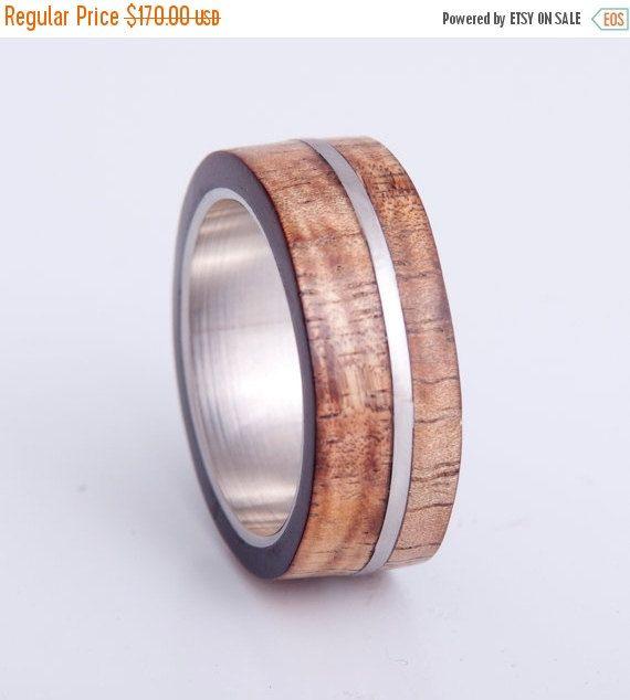 Titanium Wood Ring Wood Wedding Band Mens Ring Koa Ring Mens