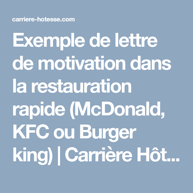 exemple de lettre de motivation dans la restauration