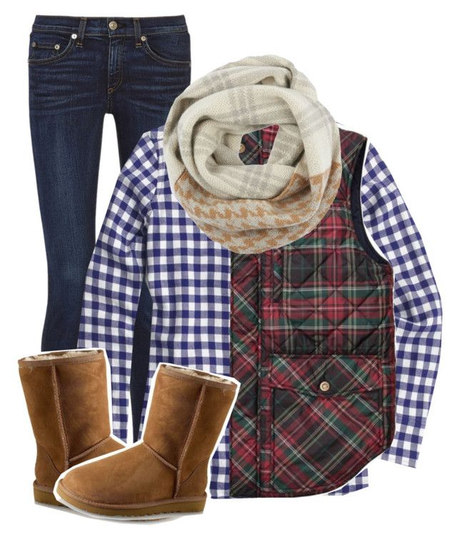 """""""I'm staying home today!"""" by hungergamesgymnast ❤ liked on Polyvore featuring rag & bone, J.Crew, Woolrich and UGG Australia"""