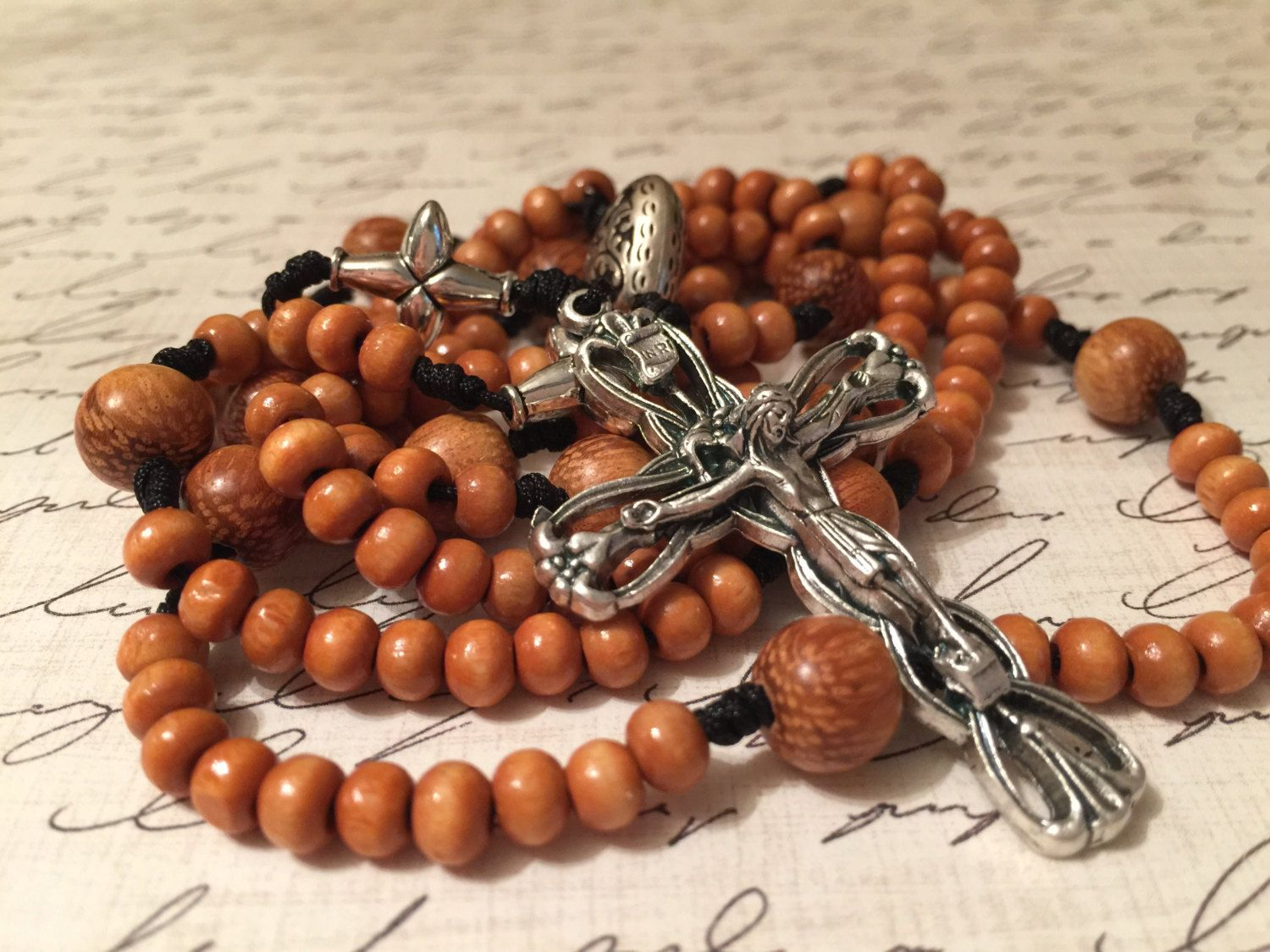 Fifteen Decade Wood Beads Cord Rosary by RosaryCastle on