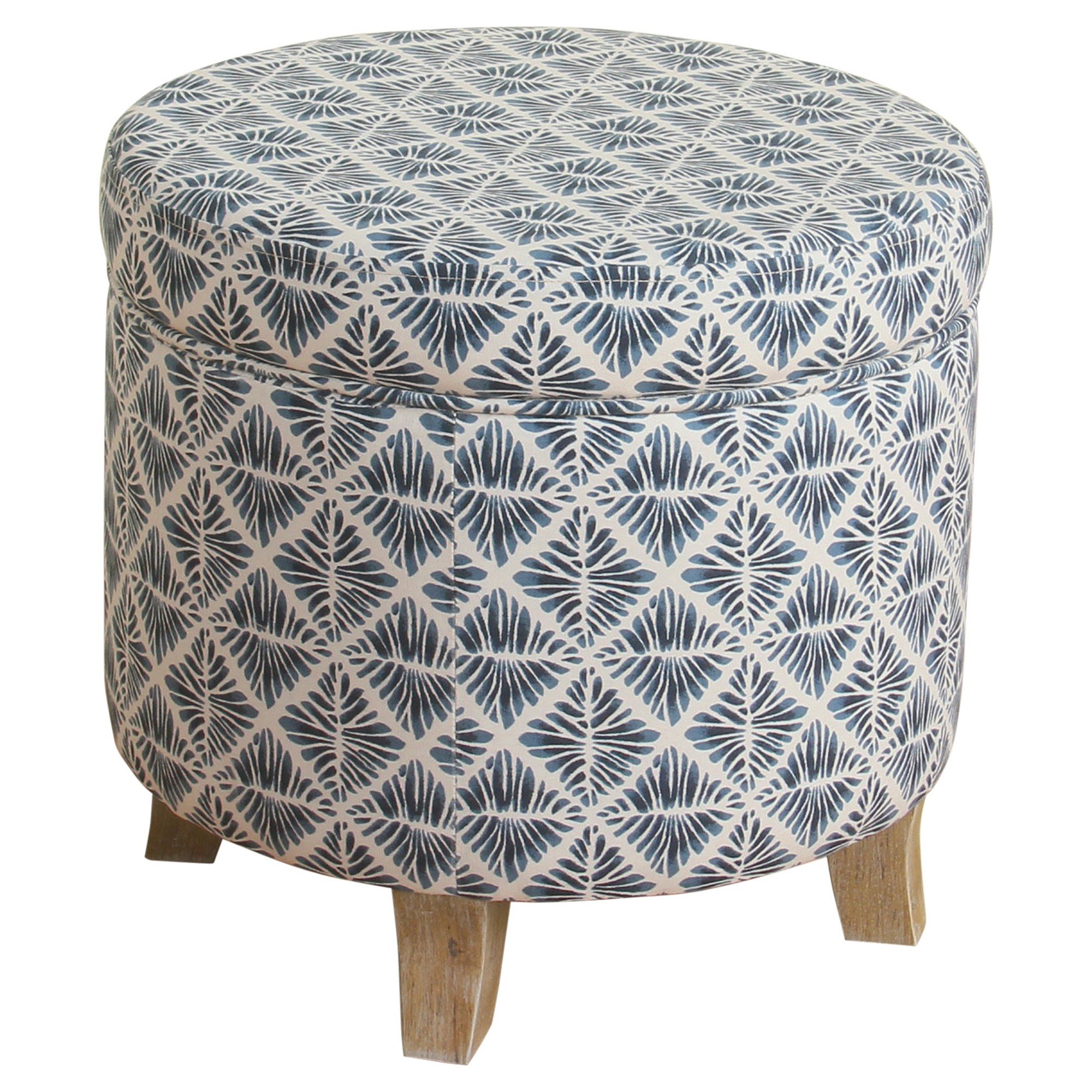 Remarkable Cole Classics Round Storage Ottoman Flared Wood Leg Blue Unemploymentrelief Wooden Chair Designs For Living Room Unemploymentrelieforg