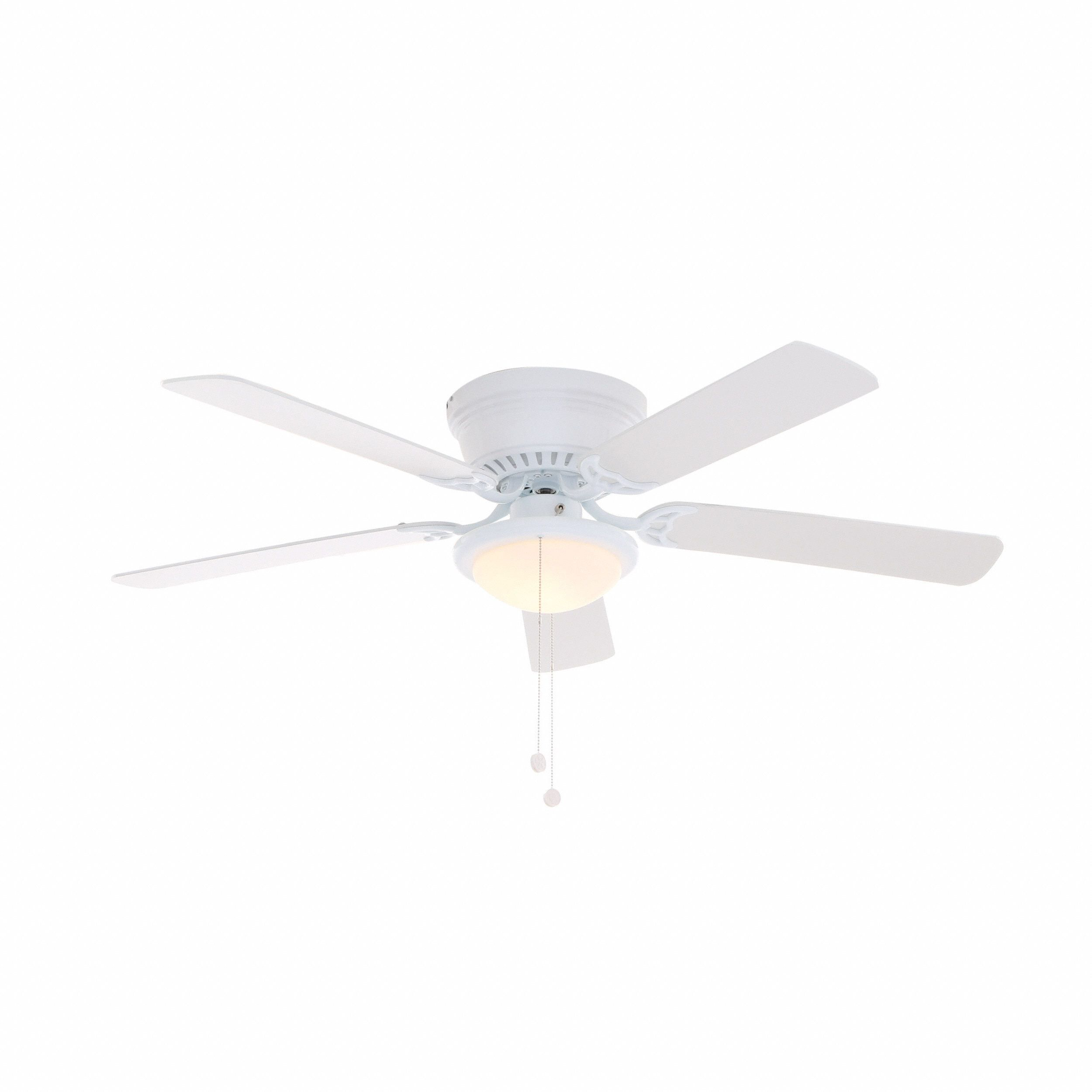 Hampton Bay Hugger 52 In White Ceiling Fan With Reversible And Brown Blades At The Home Depot Mobile