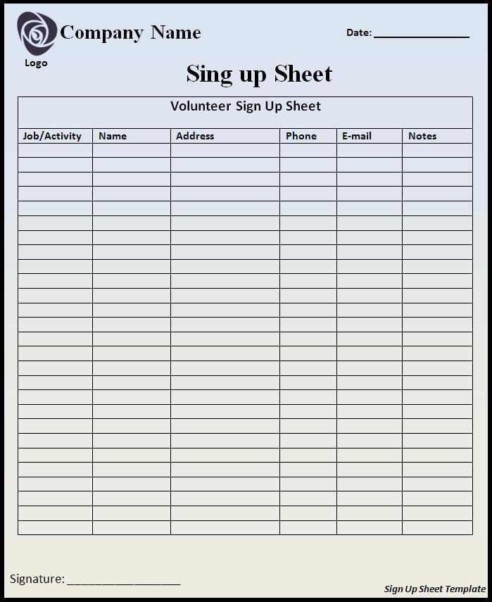 Sign Up Sheet Template  Wordstemplates    Template
