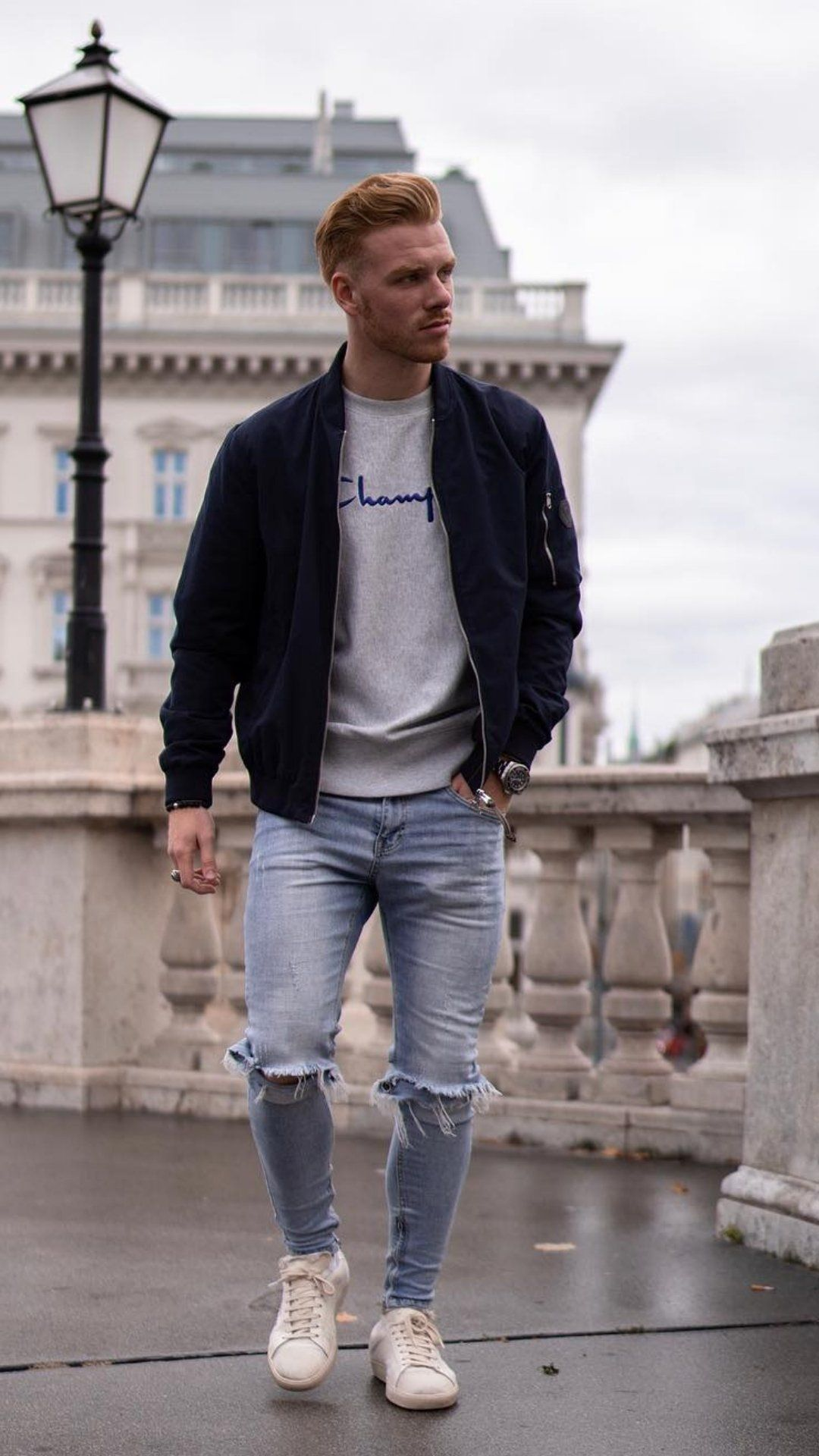 zerissene jeans bomber jacke