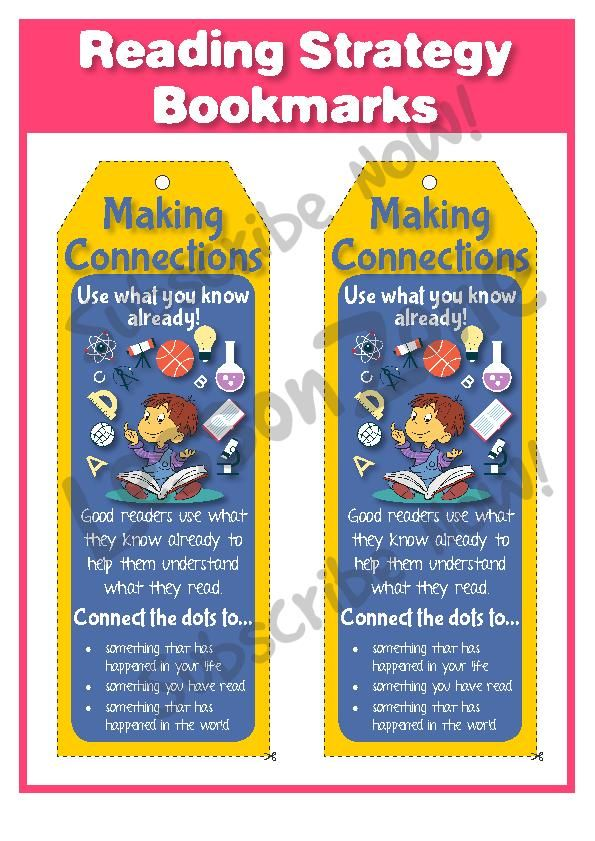 Lesson Zone Reading Strategy Bookmarks : Making Connections